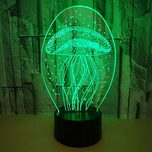 FAGavin Medusa LED Colorido Gradiente 3D Estéreo Lámpara De Mesa Táctil Control Remoto USB Luz De Noche Escritorio Mesita De Noche Decoración Creativa Adornos De Regalo