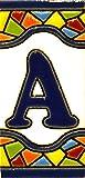 Letreros con numeros y letras en azulejo de ceramica, pintados a mano en técnica cuerda seca para nombres y direcciones. Texto personalizable. Diseño MOSAICO MINI 7,3 cm x 3,5 cm. (LETRA 'A')