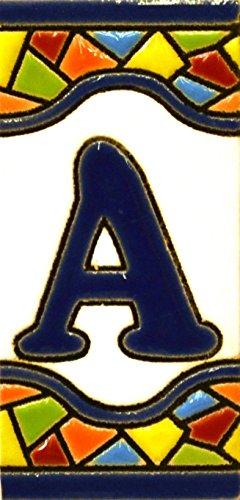 """Letreros con numeros y letras en azulejo de ceramica, pintados a mano en técnica cuerda seca para nombres y direcciones. Texto personalizable. Diseño MOSAICO MINI 7,3 cm x 3,5 cm. (LETRA """"A"""")"""