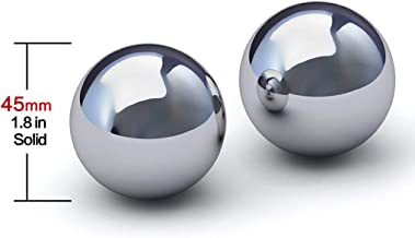 Stainless Steel Baoding Balls.Solid Style,no Chime,Chinese Health Massage Balls for Hand and Wrist Strengthening,Therapy, Exercise. (45mm 1.8in)