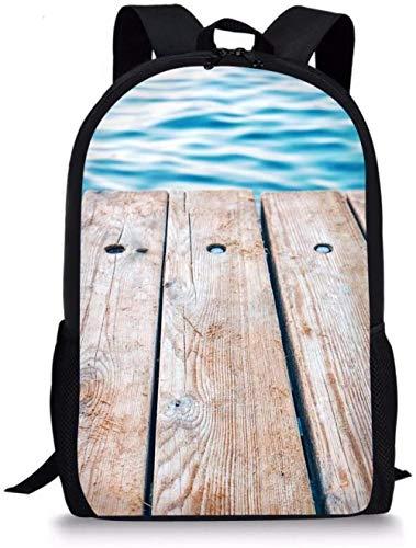 Mochila de Escuela Primaria con Caballete Junto al mar para niños Bolso de Hombro Grande Impreso de 17 Pulgadas