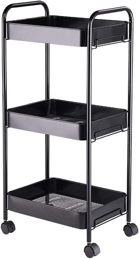 Noyy 3 Tier Mobile Shelving sold out Unit Durable with Time sale P Wheels Lockable