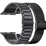 TIANQ 2 Set Pulseira para Apple Watch Band Series 5 4 44Mm 40Mm Pulsera Malla Loop para Iwatch Correa 3 2 Bandas De Acero Inoxidable 38Mm 42Mm, B Set, 38Mm
