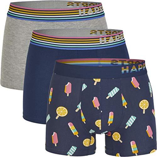 Happy Shorts 3 Stück Jersey Trunk Herren Boxershorts Pants Boxer witzige Designs Mode D20 NEU, Grösse:L, Farbe:Design 020