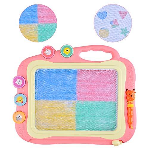Upgrow Magnetische Maltafel Zaubertafeln Kinder Löschbar Schreibtablett Multifarben Magnettafel mit 5 Form Stempeln Magic Zeichentafel Set für Kinder