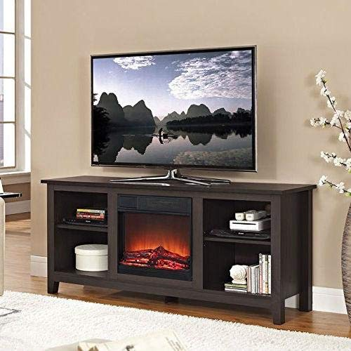 StarSun Depot Espresso Wood TV Stand with Electric Fireplace Heater Insert