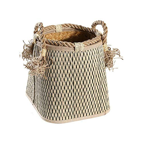 ZHENAO Natural High Capacity Shopper Hamper Rattan Storage Bin Laundry Basket Durable Market Basket Belly Basket Children's Toys,Clothes Can Be Stored Transport Crate/L