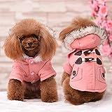 Kismaple Cappotti e Giubbotti per Cani Autunno Invernale Cappotto con Cappuccio Vestiti per Cani Gatto Cane Taglia Piccola Media (M Petto:40-42cm, Rosa)