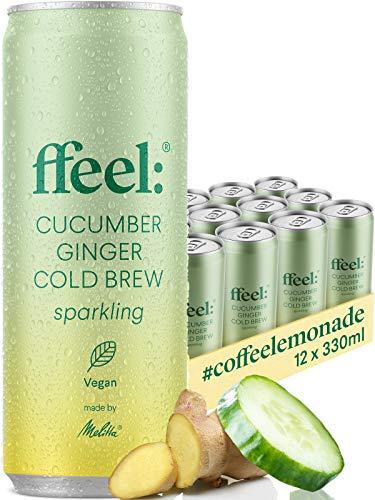 Melitta ffeel Sparkling Cucumber Ginger Cold Brew 0,33 l | vegan wenig Zucker natürlich frisch im Geschmack | 12 Dosen koffeinhaltige Limonade alkoholfrei mit Gurke Ingwer und Coldbrew Coffee EINWEG