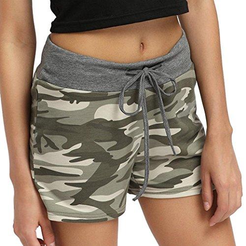 Shorts Damen Sommer Luckycat Europäische und amerikanische Camouflage Shorts elastische Taille dünne Beinhosen weiblich Shorts Hose Sommerhosen Pants Hosen (Grün, X-Large)