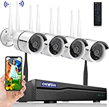 【2K,Two Way Audio】Wireless Security Camera System,8 Channel 5.0MP NVR,4Pcs 3.0MP Home IP Cameras,OHWOAI Indoor/Outdoor CCTV Surveillance System(No HDD),AI Human Detection,IP67 Waterproof,Night Vision