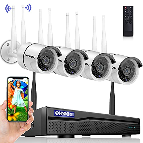 【2K,Dual Antenna Signal Enhancement】 Wireless Security Camera System,8 Channel 5.0MP NVR,4Pcs 3.0MP Home IP Cameras,OHWOAI Indoor/Outdoor CCTV Surveillance System(No HDD),AI Human Detection,IP67