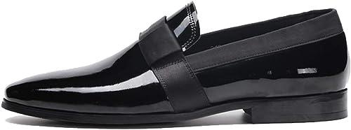 RSHENG zapatos de cuero para hombres zapatos de charol Lok Fu Trajes de negocios británicos Calzado para pies