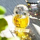 H & D Kristall Figur Eule Kollektion Briefbeschwerer Tisch Mittelpunkt Ornament, gelb