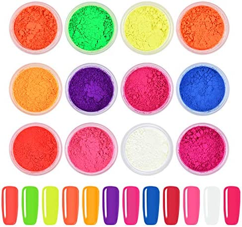 Ownest 12 Boxes Pigment Nail Powder Colorful Fluorescent color Nail Pigments Dust Nail Glitter product image