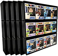 15 Single Row in Box Display Cases for 4 in. Vinyl Collectible Toy Figures, Black Cardboard