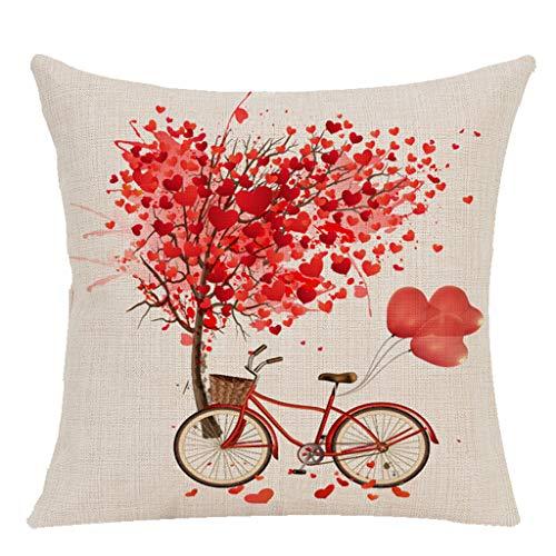 Yvelands Saint Valentin Oreiller/L'Amour Oreiller Doux Flexible Oreiller En Lin Taie D'Oreiller CarréE Dormir Coussin Coussins Lombaires(D)