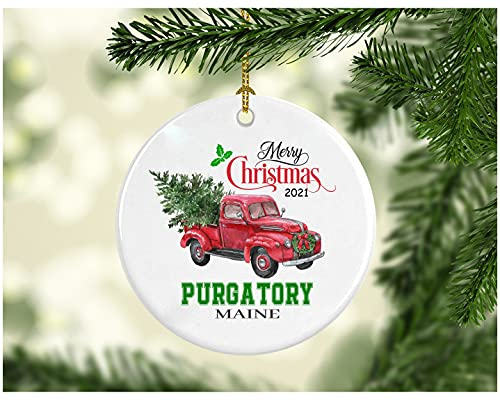 Christmas Decoration Tree Merry Christmas Ornament 2021 Purgatory Maine Funny Gift Xmas Holiday as a Family Pretty Rustic First Christmas in Our New Home MDF Plastic 3' White