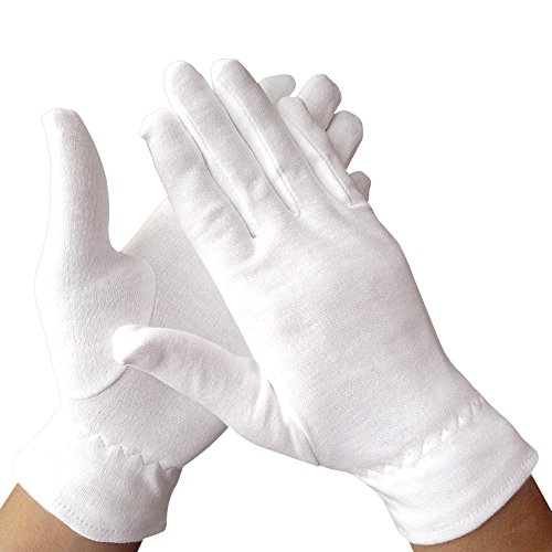 Dermrelief Cotton Gloves - for Beauty, Dry Hands, Eczema, Dermatitis and Psoriasis (Large, 3 Pairs)