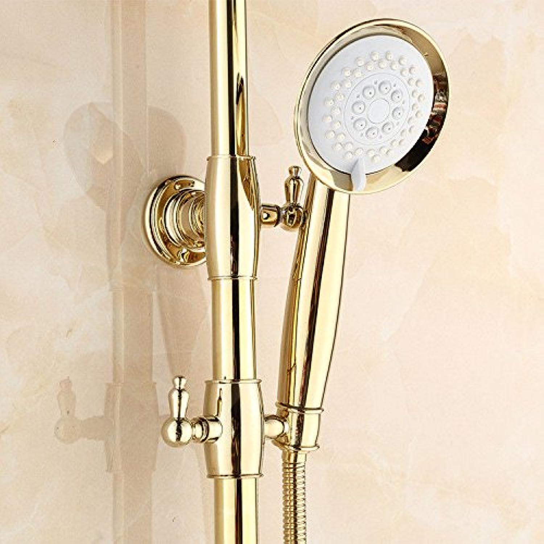 ETERNAL QUALITY Badezimmer Waschbecken Wasserhahn Messing Hahn Waschraum Mischer Mischbatterie Tippen Sie auf die Goldene Dusche Kit voll Kupfer Dusche Wasserhahn Küchens