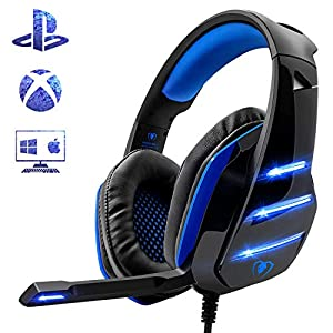 Beexcellent – Auriculares para PS4, Surround Bass Sound Professional con micrófono y luz LED para Xbox One, PC, portátil, Mac y Tablet