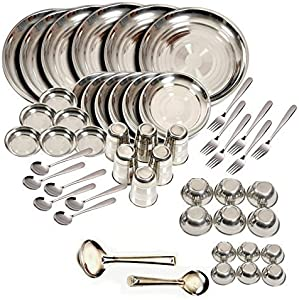 King International Stainless Steel Dinnerware Set of 50 Pcs, Stainless Steel Plate Set, Stainless Steel Dishes, Dinner Plates, Camping Plates Set
