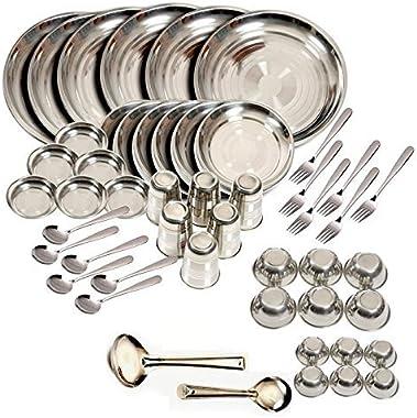 King International Stainless Steel Dinnerware Set of 50 Pcs, Stainless Steel Plate Set, Stainless Steel Dishes, Dinner Plates