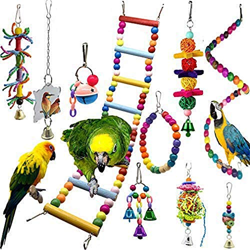 10Pcs Bird Swing Toys Parrot Chewing Toys Colorful Pet Bird Toys with Wooden Hanging Stand Ladder Cage toys for Budgies,Parakeet,Cockatiels,Love Birds,Canary,Mynah,Conures,Finches and Small Birds