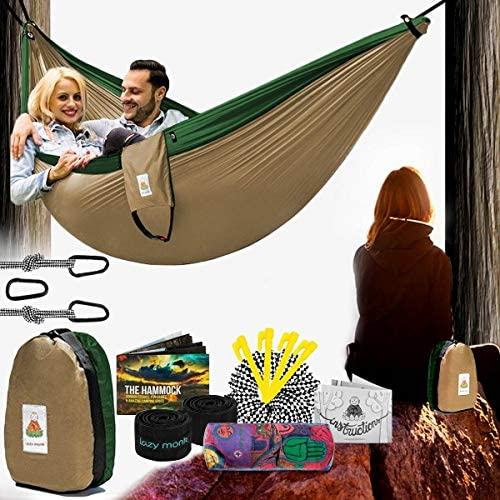 Lazy Monk 2 Person Hammock w Tree Straps Portable Foldable Parachute Double Hamock Outdoor Travel product image