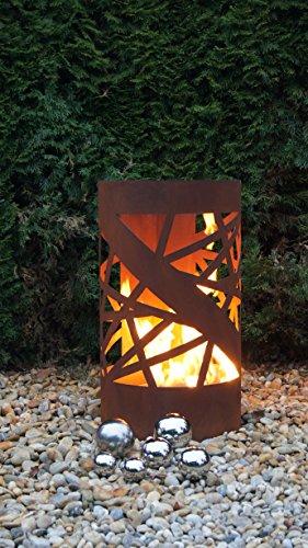 Feuertonne Stripes Edelrost Säule Rost Feuerkorb Feuerschale