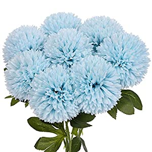 Momkids 8 Pcs Artificial Hydrangea Flowers Fake Chrysanthemum Ball Silk Flower Faux Plastic Bouquet for Wedding Bridal Home Office Coffee Shop Party DIY Decor