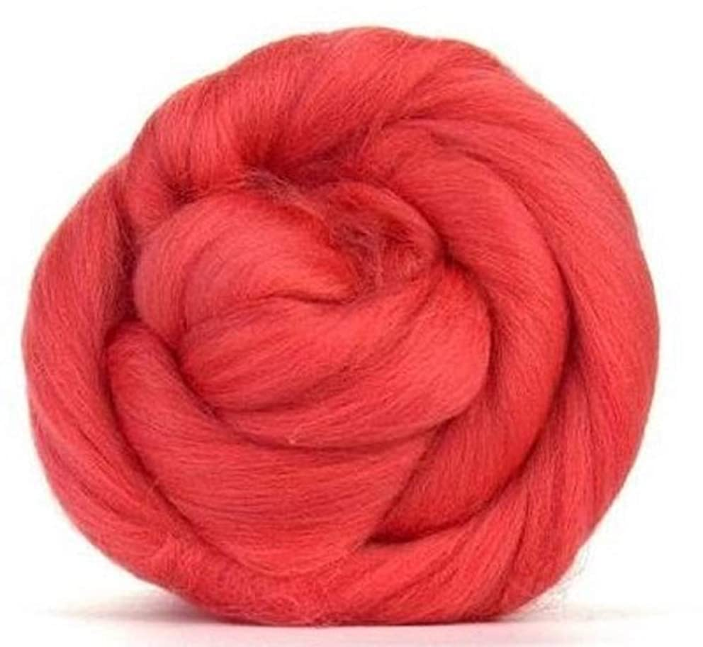 4 oz Paradise Fibers 64 Count Dyed Coral (Orange) Merino Top Spinning Fiber Luxuriously Soft Wool Top Roving for Spinning with Spindle or Wheel, Felting, Blending and Weaving