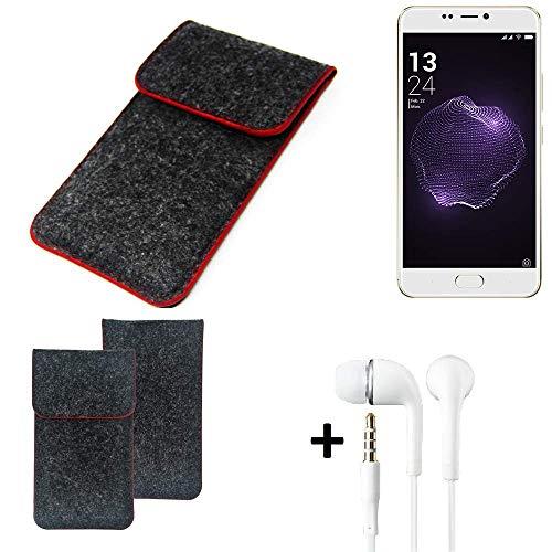 K-S-Trade® Handy Schutz Hülle Für Allview X4 Soul Style Schutzhülle Handyhülle Filztasche Pouch Tasche Case Sleeve Filzhülle Dunkelgrau Roter Rand + Kopfhörer