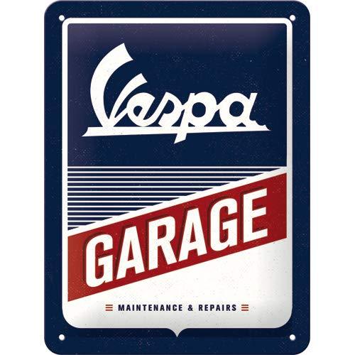 Nostalgic-Art Retro Blechschild Vespa – Garage – Geschenk-Idee für Roller Fans, aus Metall, Vintage-Design zur Dekoration, 15 x 20 cm