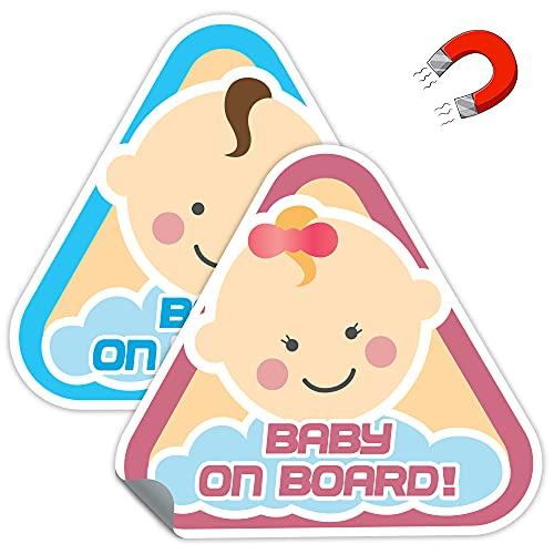 THE BIG things® Baby on Board Schild für Auto   magnetisches Baby an Bord   2 Stück
