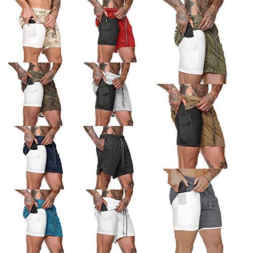 Goliraya Hommes 2-en-1 Workout Shorts de Course Sport Hip Fitness Léger Gym Yoga Formation Sport Wear Cravate Ceinture Taille Pantalon Chaud Loose Fit Performance Shorts