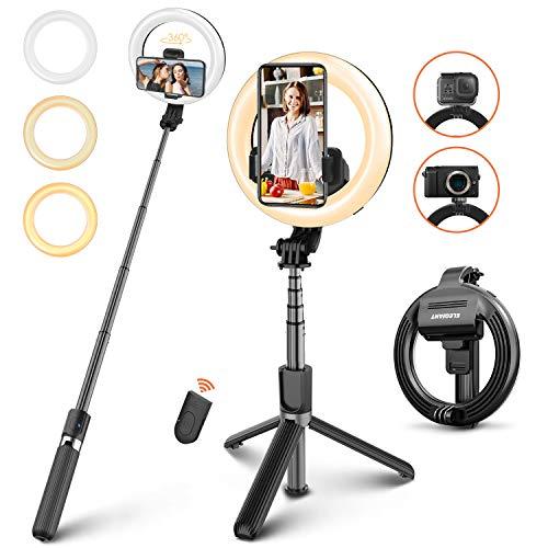 ELEGIANT Palo Selfie Trípode, Selfie Stick con Anillo de luz LED para Fotografía con Control Remoto Bluetooth para Cámara Deportiva, Móvil, Gopro, Sirve para Youtube Maquillaje, Aro de luz Ajustable