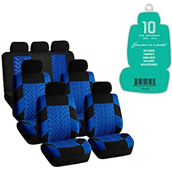 FH Group FH-FB071217 Complete Three Row Set Travel Master Seat Covers Blue/Black  Airbag Ready & Rear Split  - Fit Most Car Truck SUV or Van