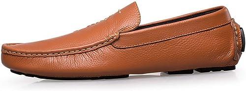 EGS-chaussures Chaussures Homme Peas Chaussures de Conduite Chaussures paresseuses Chaussures de Sport First Layer cuir Chaussures Hommes Chaussures de Cricket (Couleur   oren jaune, Taille   42)