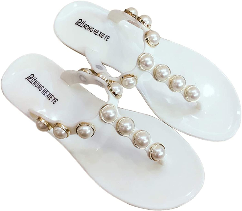 Btrada Women Summer Pearl Glitter Bohemian Style Beach Sandals Ladies Flip Flops Comfortable Slippers
