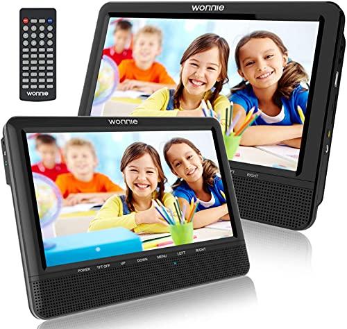WONNIE 10.1 Zoll Auto DVD Player 5 Stunden Tragbarer 2 Kopfstütze Monitore, Bildschirm Kopfstützenhalterung, USB/SD und Letztem Speicher