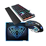 AULA SC100 Wireless Bluetooth Rechargeable Mouse + F2088 Wired Mechanical Gaming Keyboard + Gaming Mouse Pad Three-Piece Set
