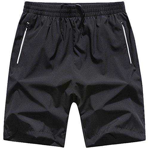 LEOCLOTHO Sport Beach Shorts voor heren, sneldrogende zwembroek met ritszakken, surfend op korte broek