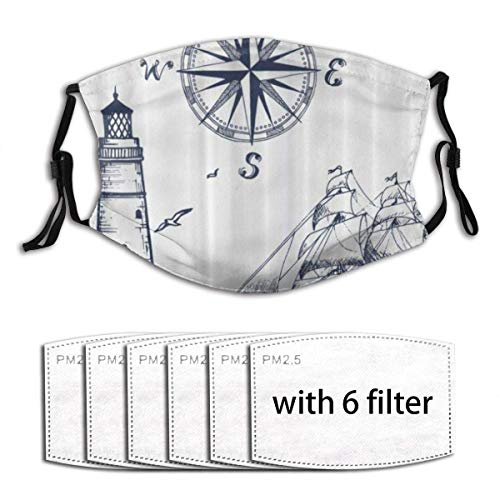 Face mask reusable Sail Boat Nautical Lighthouse and Compass Navy Blue Print Dust Washable Mouth Warm Windproof Cotton Face Made in USA