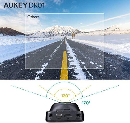 AUKEY Dashcam FHD 1080P Autokamera mit 170 Grad Weitwinkel, Superkondensator, WDR Nachtsicht Kamera für Auto mit G-Sensor, Bewegungserkennung, Loop-Aufnahme und Dual-Port Kfz-Ladegerät