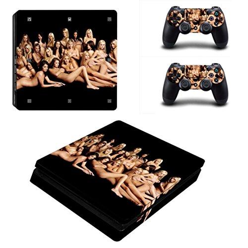 dotbuy PS4Slim Vinyl Decal Aufkleber Skin Sticker für Playstation 4Slim Konsole + 2Dualshock Controller Set schwarz Sexy Girls
