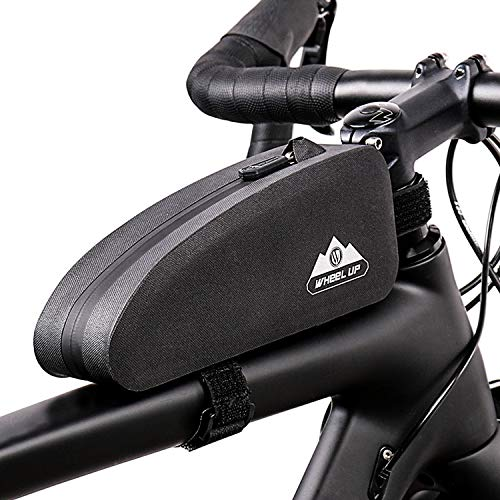 Fahrrad Rahmentasche, 1L Wasserdicht Fahrrad Oberrohrtasche, Fahrrad Lenkertasche, Rahmentaschen für Rennräder MTB Fahrradzubehör, Große Kapazität Fahrradtasche Triangle Bag Dreiecktasche Schwarz