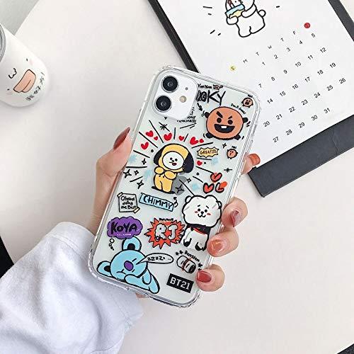 HNZZ Tmrtcgy Cute BT21 Soft Silicone Color Funda telefónica para iPhone 12 11 Pro MAX X XR XS MAX 7 8 Plus Funda TPU Transparente Suave TPU (Color : T2, Size : Iphone12 Pro MAX)