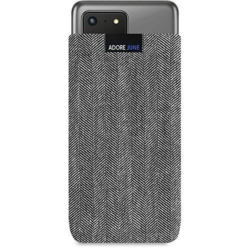 Adore June Business Tasche kompatibel mit Samsung Galaxy S20 Ultra Handytasche aus charakteristischem Fischgrat Stoff - Grau/Schwarz, Schutztasche Zubehör mit Bildschirm Reinigungs-Effekt