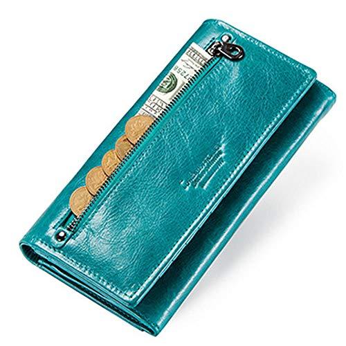GHYDDC Portemonnees Voor Vrouwen Grote capaciteit, Bifold Portemonnee Voor Vrouwen, Wax Echt Lederen Portemonnee Kaarthouder Koppeling Organizer Dames Handtas Blauw